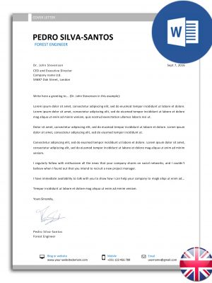 carta de apresentação editável em Word - versão inglesa