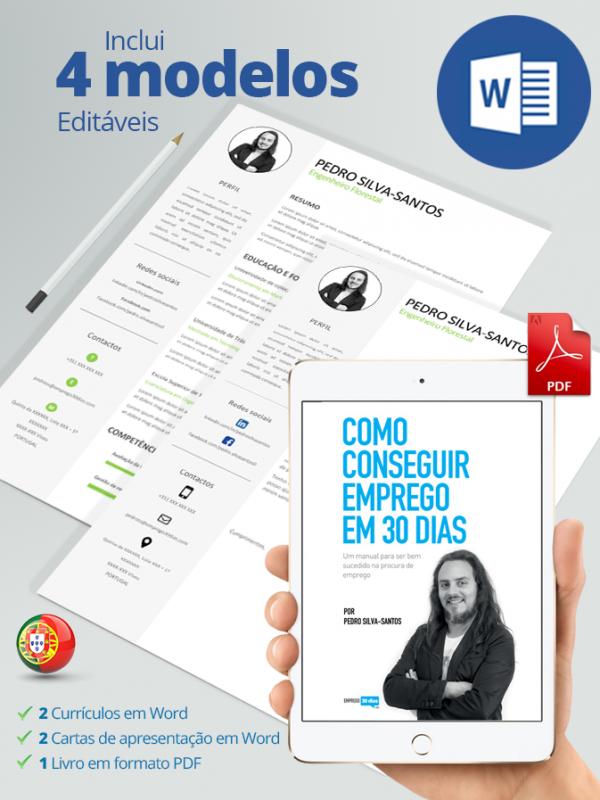 Pack com livro como conseguir emprego em 30 dias em pdf, currículos e cartas de apresentação