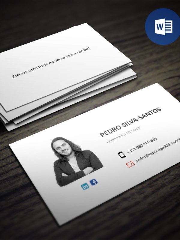 Modelo de cartão pessoal editável em Word