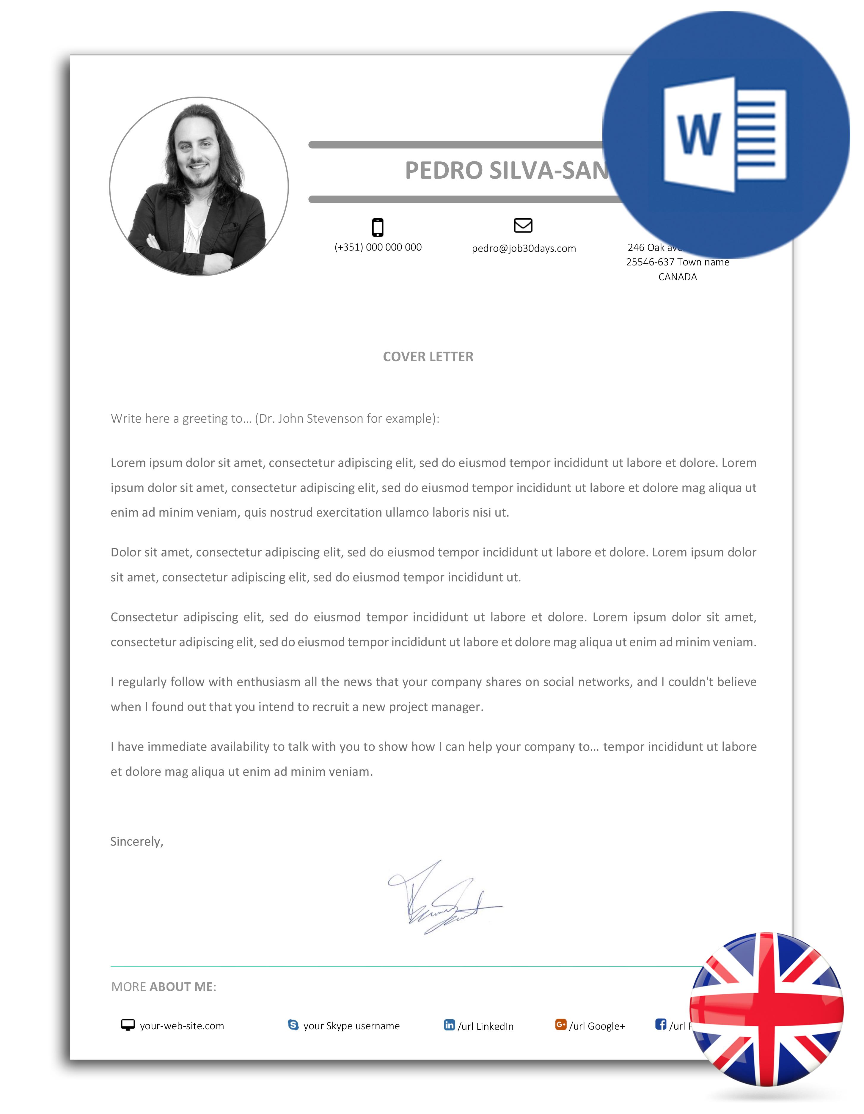 modelo de carta de apresentação editável em Word (versão inglesa)