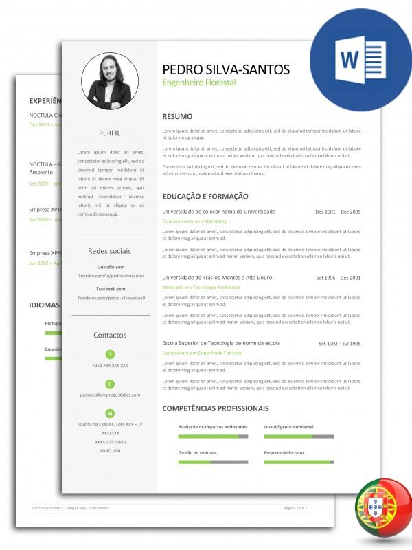 CV-PSS-E30D-003 – currículo editável em Word com duas páginas