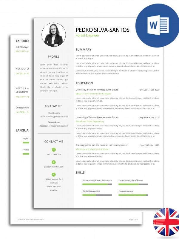 CV-PSS-E30D-003 – currículo editável em Word com duas páginas – versão inglesa