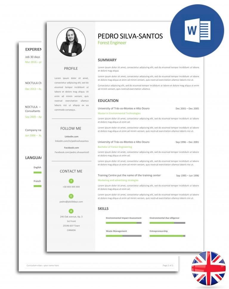 currículo editável em Word com duas páginas - versão inglesa