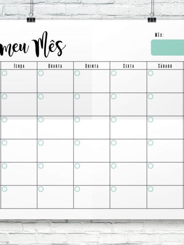 Modelo de planeamento mensal para impressão