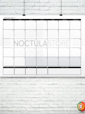 Modelo de planeamento mensal para impressão - calendário 2017 (exemplo: mês de Janeiro de 2017)