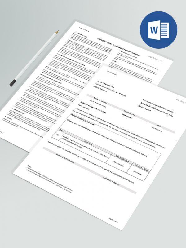 Modelo de Ordem de Compra editável em Word – 2pags