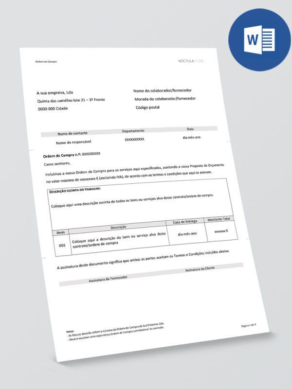 Modelo de Ordem de Compra editável em Word – pag01