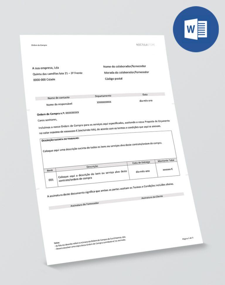 Modelo de Ordem de Compra editável em Word - pag01