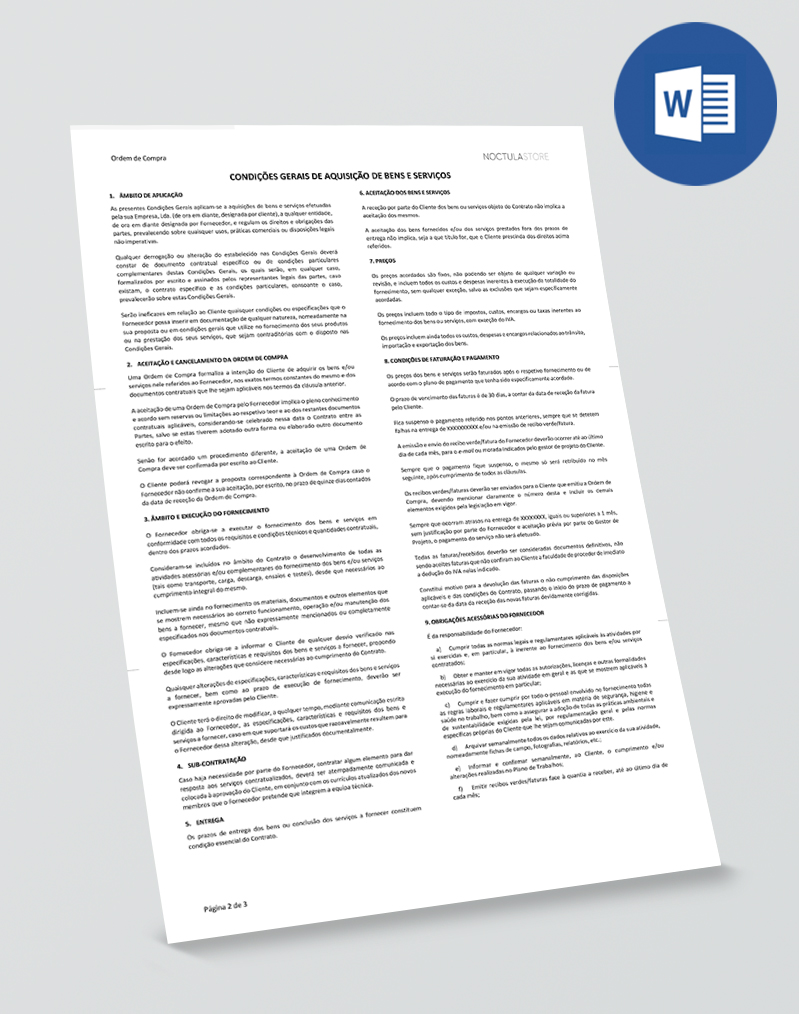 Modelo de Ordem de Compra editável em Word - pag02