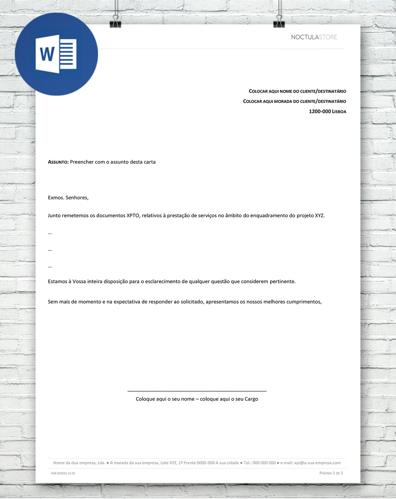 modelo de carta editavel em Word - destaque
