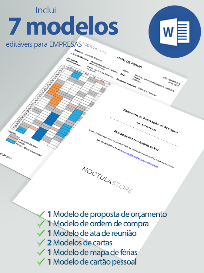 modelo editaveis em Word para empresas - destaque