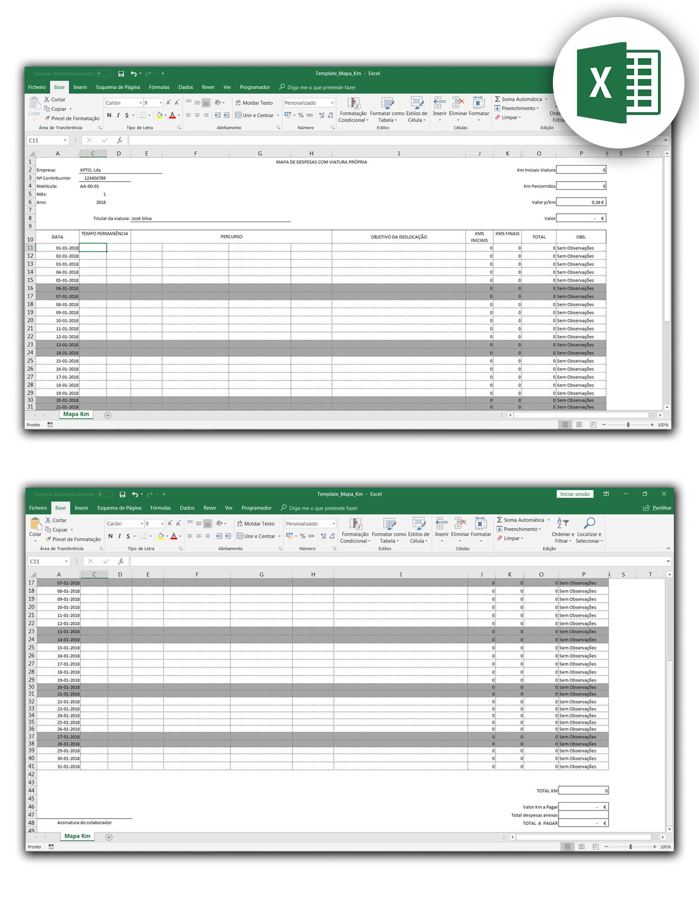 mapa de km em Excel - vrt