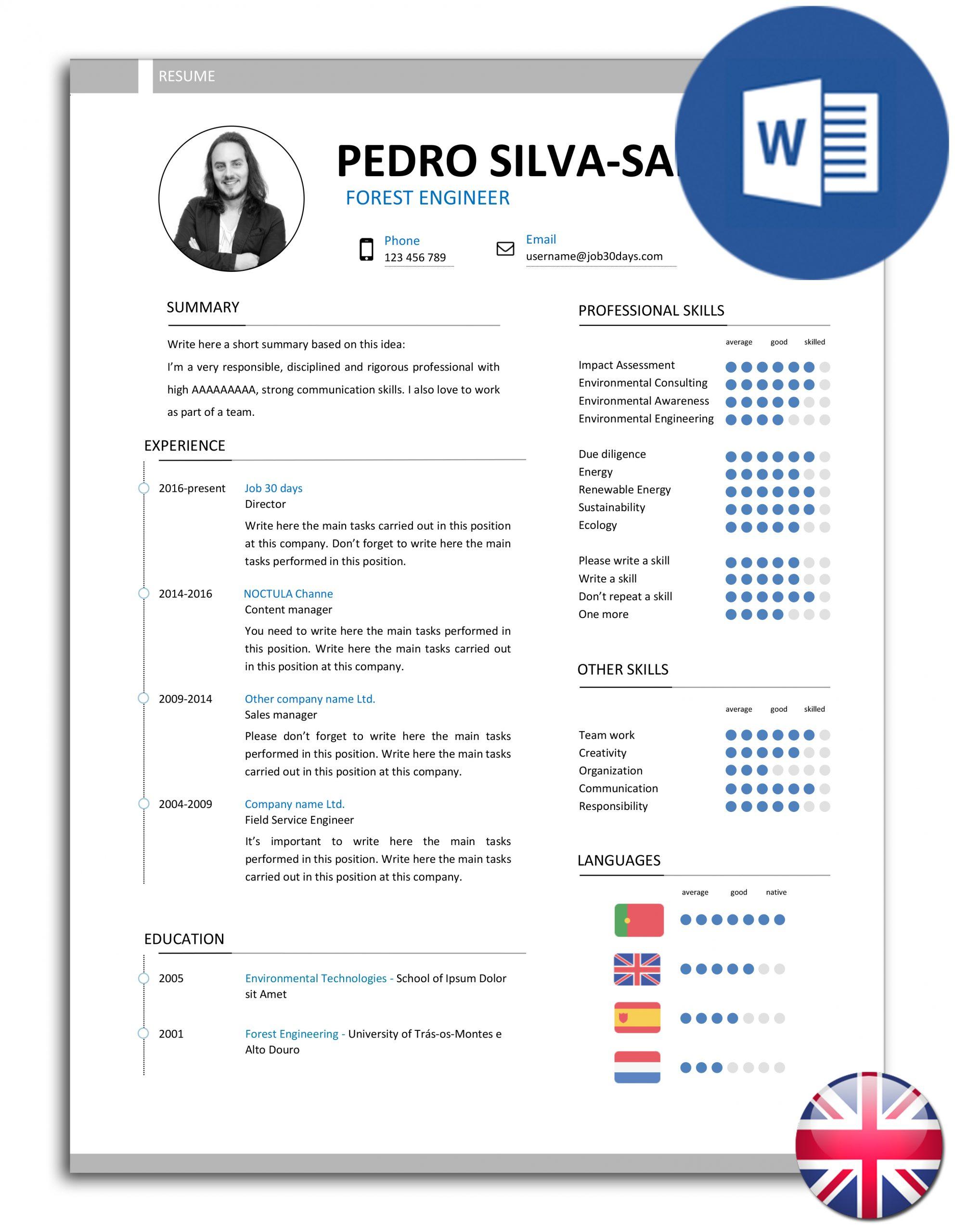Editable Resume from www.noctulastore.com
